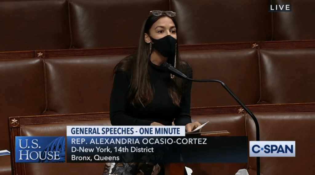Rep. Alexandria Ocasio-Cortez recognizes the Jewish Center of Jackson Heights from the floor of the House of Representatives on Friday, November 20, 2020.